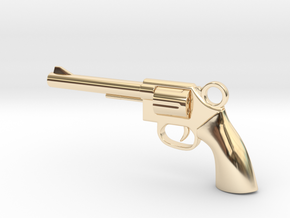 REVOLVER - GUN Pendant in 14k Gold Plated Brass