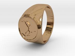 Signet Ring Deer Logo 19mm men in Polished Brass