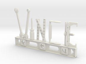 Vince Nametag in White Natural Versatile Plastic