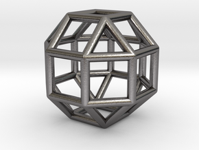 0274 Small Rhombicuboctahedron E (a=1cm) #001 in Polished Nickel Steel