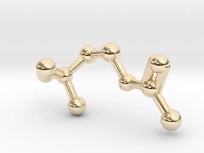 Acetylcholine Molecule in 14k Gold Plated Brass