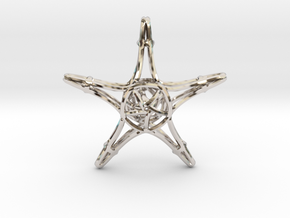 Starfish Wireframe Keychain in Rhodium Plated Brass
