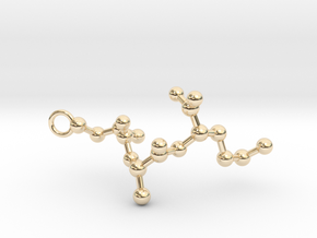Peptide Sequence Keychain Necklace C A M in 14K Yellow Gold
