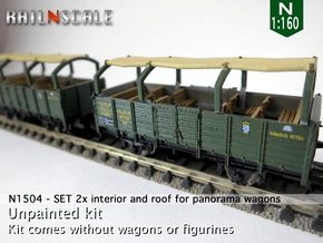 SET 2x Interior and roof for panorama wagon (N) in Frosted Ultra Detail