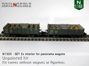 SET 2x Interior for panorama wagon (N 1:160) in Smooth Fine Detail Plastic