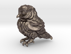 Owl Etta Tiny 3cm - Hollow 1.5mm in Polished Bronzed Silver Steel