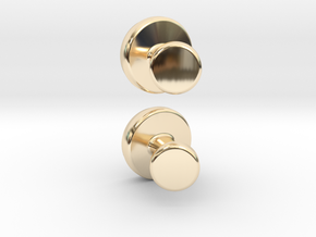 Cuff-link - Gem/Bead Settable in 14K Yellow Gold