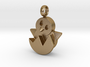 Hatching Chick Emoji Charm in Polished Gold Steel