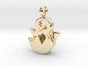 Hatching Chick Emoji Charm in 14k Gold Plated Brass