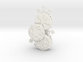 Gears of Winter Ornament in White Processed Versatile Plastic