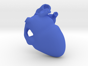 Golden Heart Pendant 30mm (~1.2 inches) in Blue Processed Versatile Plastic