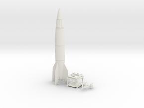 TT Gauge - V2 Rocket With Platform and Dolly in White Natural Versatile Plastic