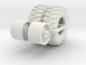 1:64 scale 24.5-32 Wheel And Tire Pair in White Natural Versatile Plastic
