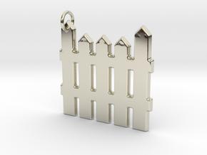 White Picket Fence Keychain in 14k White Gold
