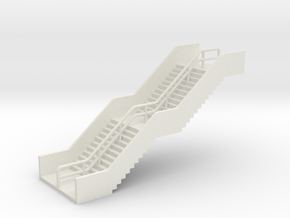 N Scale Station Stairs H30mm in White Natural Versatile Plastic