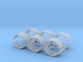 1/87th Dual Tire fenders set of six in Smooth Fine Detail Plastic