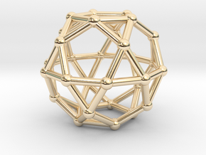0393 Icosidodecahedron V&E (a=1cm) #002 in 14k Gold Plated Brass