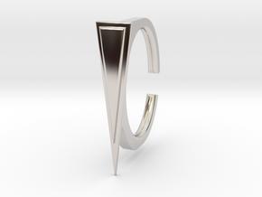 Ring 2-1 in Rhodium Plated Brass