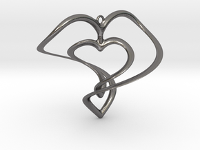 Hearts Necklace / Pendant-01 in Polished Nickel Steel