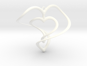 Hearts Necklace / Pendant-01 in White Processed Versatile Plastic