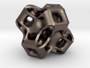 Cubic Gyroid in Polished Bronzed Silver Steel