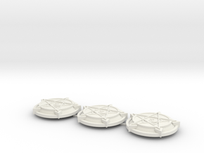 28mm/32mm Demon Summoning Circles (set of three)  in White Strong & Flexible