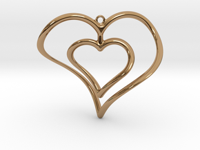 Hearts Necklace / Pendant-02 in Polished Brass