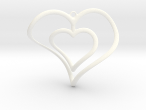 Hearts Necklace / Pendant-02 in White Processed Versatile Plastic