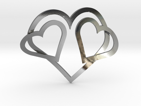 Hearts Necklace / Pendant-05 in Polished Silver