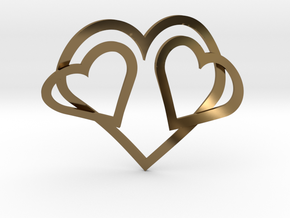 Hearts Necklace / Pendant-05 in Polished Bronze