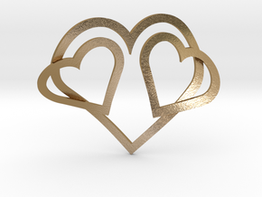 Hearts Necklace / Pendant-05 in Polished Gold Steel
