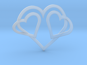 Hearts Necklace / Pendant-05 in Smooth Fine Detail Plastic