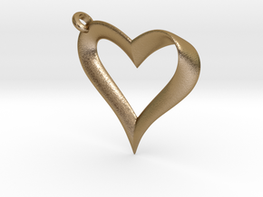 Mobius Heart Pendant in Polished Gold Steel