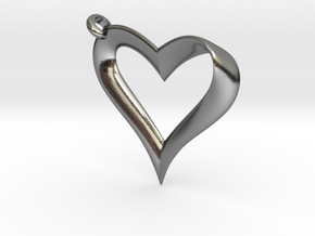 Mobius Heart Pendant in Polished Silver