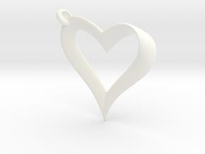 Mobius Heart Pendant in White Processed Versatile Plastic
