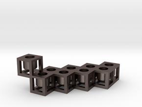 Framework menorah in Polished Bronzed Silver Steel