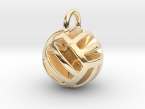 DRAW pendant - volleyball style 2 in 14k Gold Plated Brass