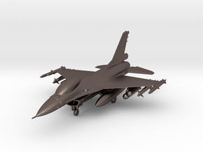 F-16 Fighting Falcon Jet Gold & Precious materials in Polished Bronzed Silver Steel