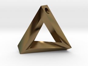 Impossible Triangle Pendant in Polished Bronze