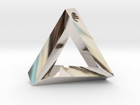 Impossible Triangle Pendant in Rhodium Plated Brass