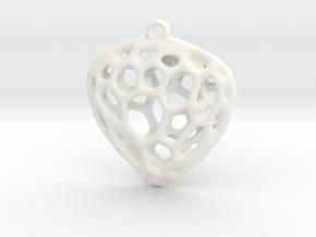 Simple Hearth Pendant in White Processed Versatile Plastic