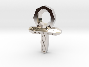Small Ankh in Rhodium Plated Brass