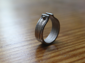 WOOD & NAIL Ring in Polished Bronzed Silver Steel