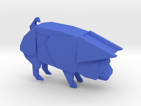 Origami Pig in Blue Strong & Flexible Polished