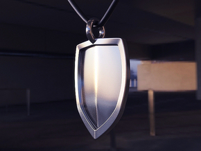 Shield Pendant  in Polished Silver