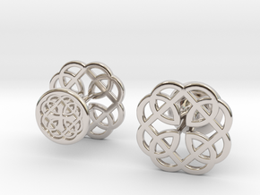 CELTIC KNOT CUFFLINKS 121415 in Rhodium Plated Brass