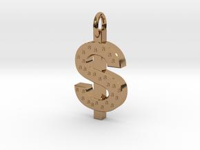 Dollar Charm in Polished Brass