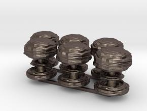 Mushroom Cloud x6 in Polished Bronzed Silver Steel