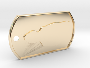 James May Silhouette  Dog Tag in 14k Gold Plated Brass