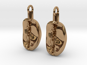 Coffee Bean Earrings in Polished Brass